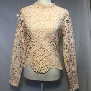 Open lace top cream long sleeve zip up shirt